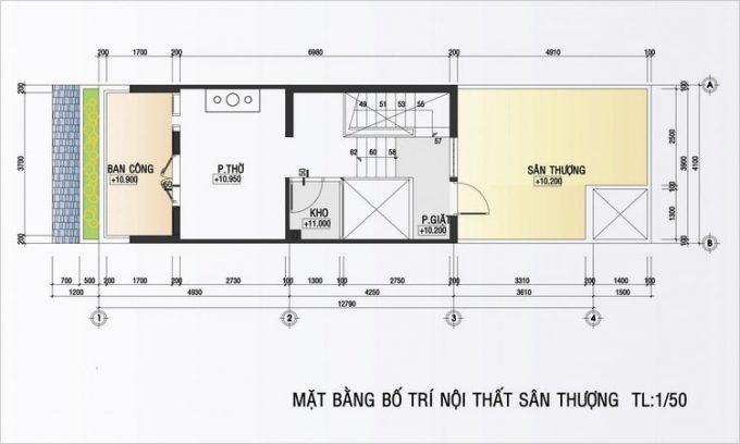 Mặt bằng mẫu thiết kế nhà ống đẹp 4 tầng nhỏ - 4