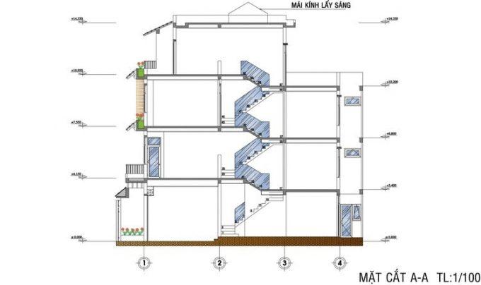 Mặt bằng mẫu thiết kế nhà ống đẹp 4 tầng nhỏ - 5