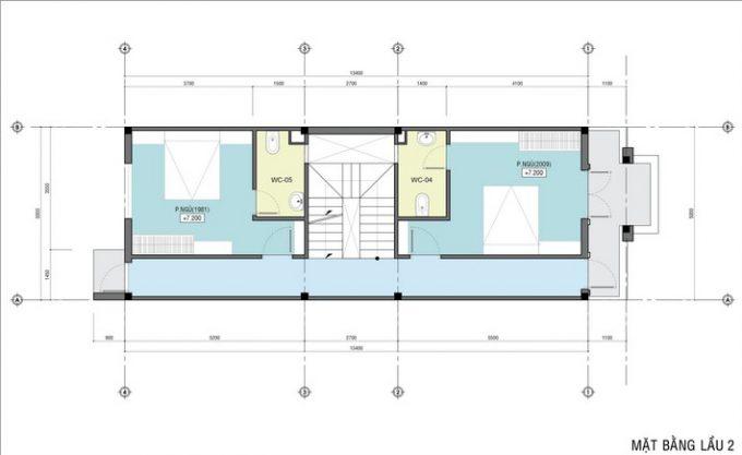 Mặt bằng công năng mẫu thiết kế nhà ống đẹp 4 tầng tân cổ -3