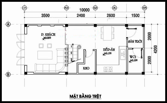 Mặt bằng tầng 1 - Mẫu thiết kế nhà ống đẹp 4 tầng thanh thoát
