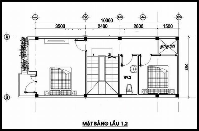 Mặt bằng tầng 2 + 3 - Mẫu thiết kế nhà ống đẹp 4 tầng thanh thoát