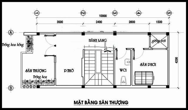 Mặt bằng tầng 4 - Mẫu thiết kế nhà ống đẹp 4 tầng thanh thoát