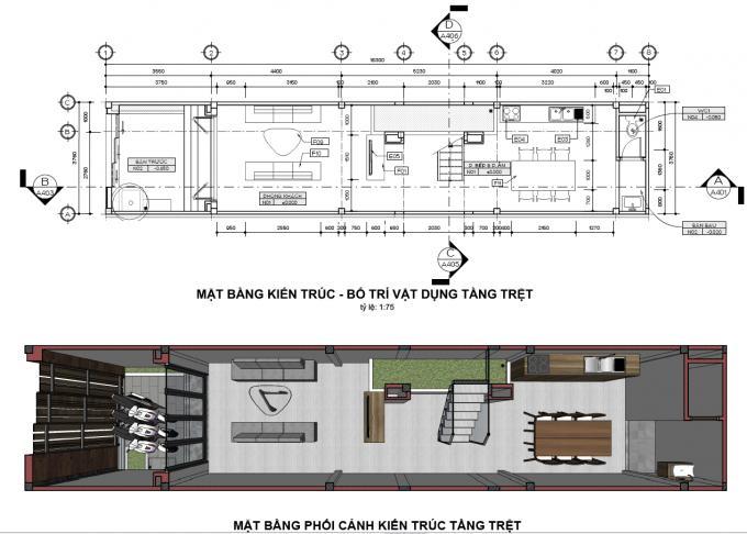 Mặt bằng công năng của mẫu thiết kế nhà ống đẹp 4 tầng xanh - 1