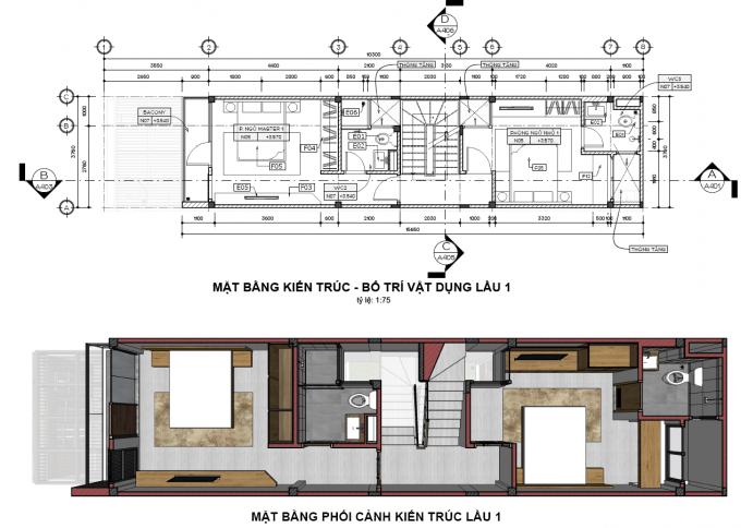 Mặt bằng công năng của mẫu thiết kế nhà ống đẹp 4 tầng xanh - 2
