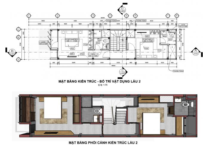 Mặt bằng công năng của mẫu thiết kế nhà ống đẹp 4 tầng xanh - 3