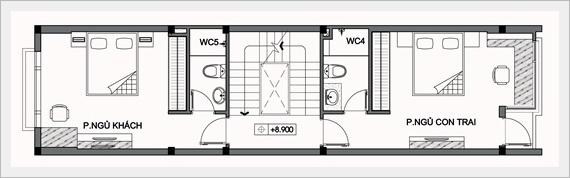 Mẫu thiết kế nhà ống đẹp 5 tầng 4x14m. 4