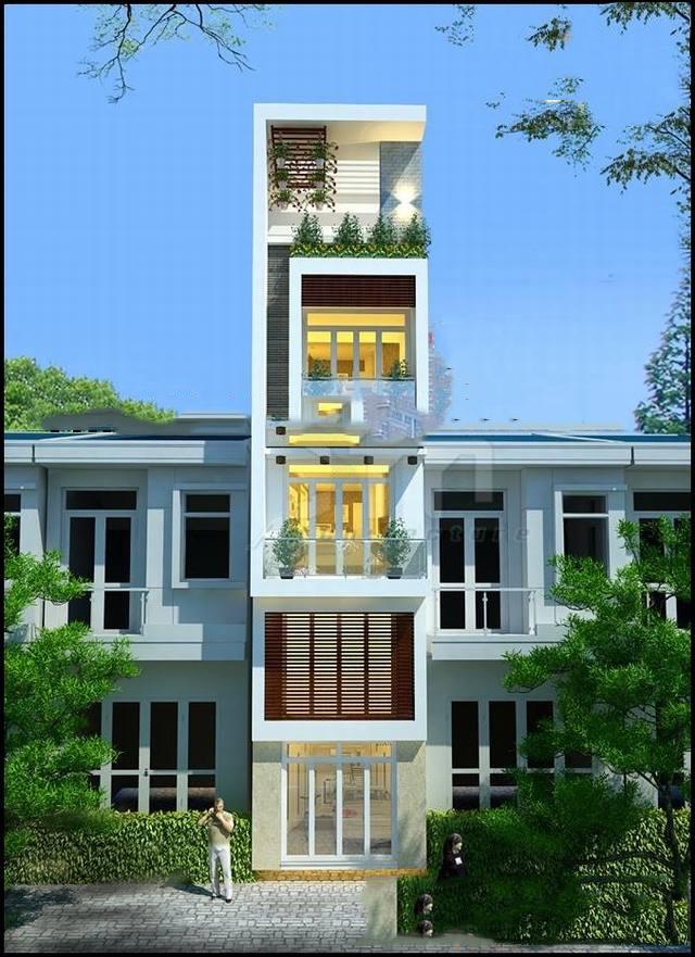 Thiết kế mẫu nhà ống đẹp 5 tầng hiện đại 1