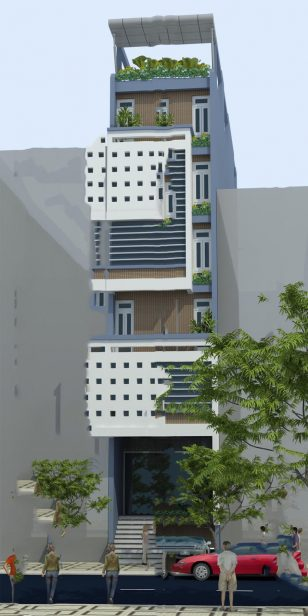 Mẫu thiết kế nhà ống đẹp 7 tầng cho thuê