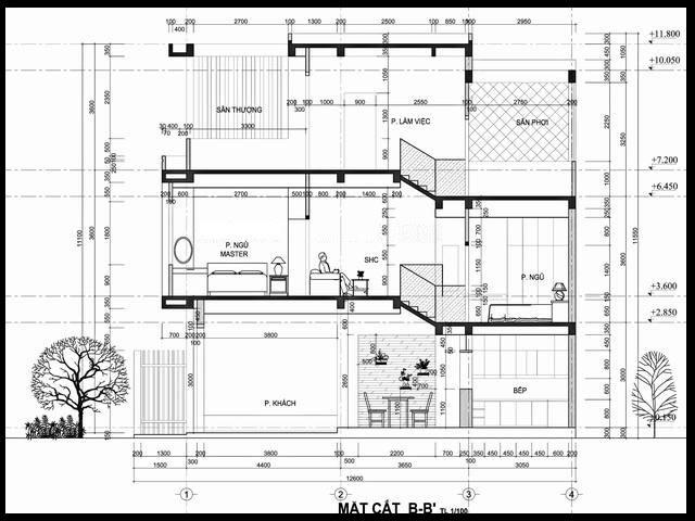 Mặt cắt của mẫu thiết kế nhà ống đẹp lệch tầng