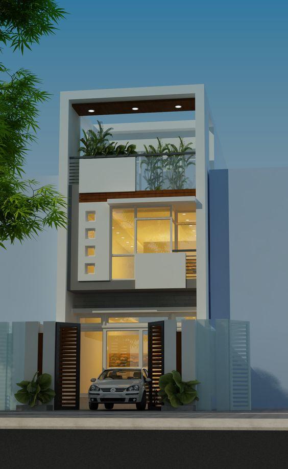 Mặt tiền mẫu thiết kế nhà ống đẹp lung linh với 2 tầng hiện đại