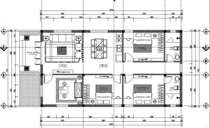 Thiết kế mặt bằng công năng của mẫu nhà ống đẹp 1 tầng mái thái