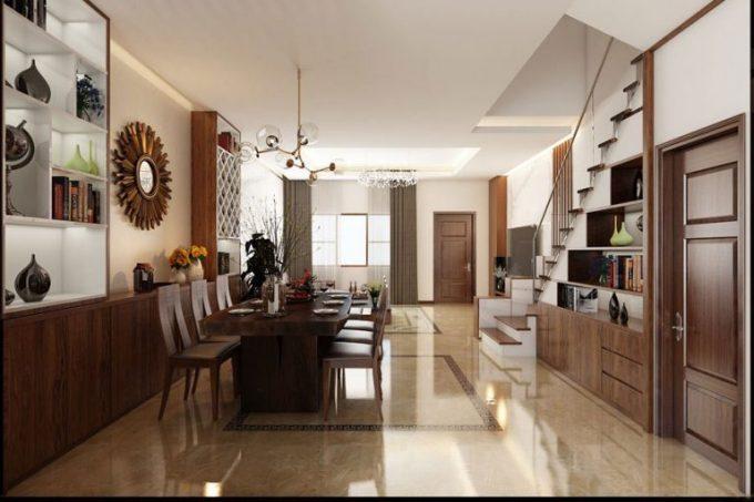 Mẫu thiết kế nhà ống đẹp với nội thất hiện đại ở phòng bếp