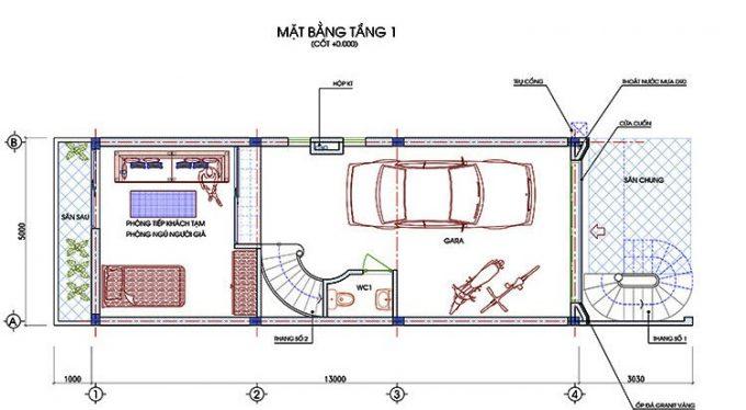 Mặt bằng công năng mẫu thiết kế nhà ống đẹp từng chi tiết 4 tầng - 1