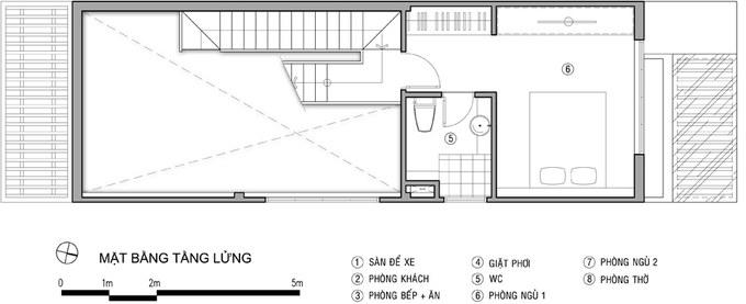 Mặt bằng công năng mẫu thiết kế nhà ống đẹp với tầng lửng thoáng đẹp - 2