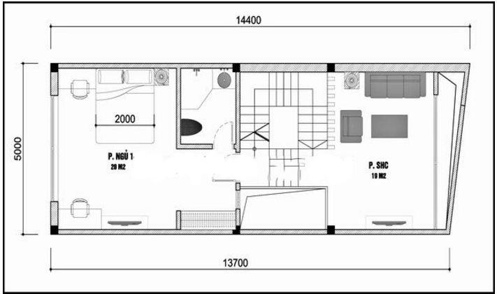 Mẫu thiết kế nhà ống hiện đại 3 tầng 5x14m. 2
