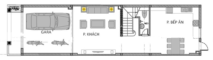 MB Tầng 1 - Thiết kế nhà ống 3 tầng 1 tum mái thái