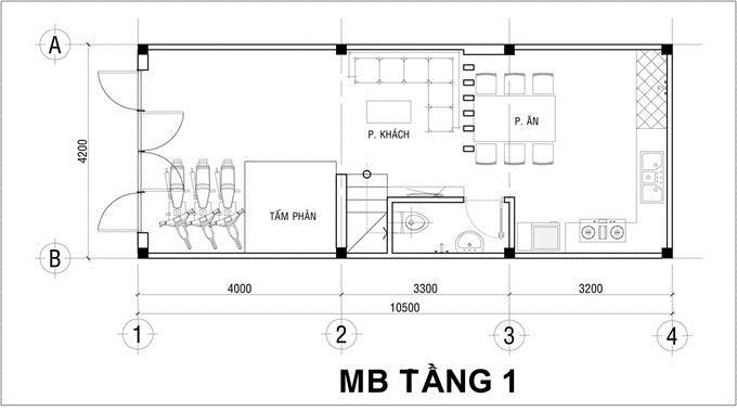 Nhà ống 3 tầng đầy đủ tiện nghi 750 triệu 4,2x10,5m. 1