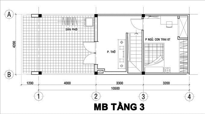 Nhà ống 3 tầng đầy đủ tiện nghi 750 triệu 4,2x10,5m. 3