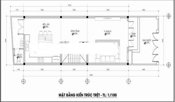 Nhà ống 3 tầng lệch tầng 5x14m hợp phong thủy. 1
