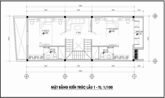Nhà ống 3 tầng lệch tầng 5x14m hợp phong thủy. 2