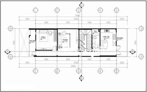 Nhà ống 4 tầng hiện đại lệch tầng 5x20m. 2