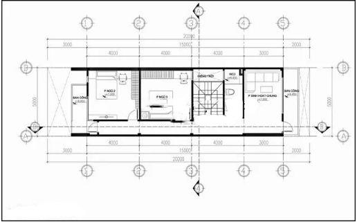 Nhà ống 4 tầng hiện đại lệch tầng 5x20m. 3