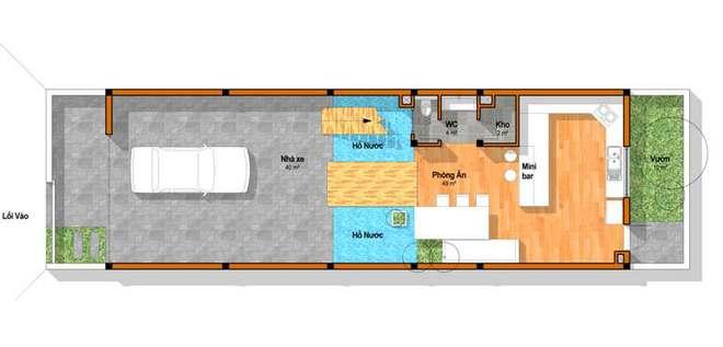 Tầng 1 - Nhà ống 4 tầng hiện đại