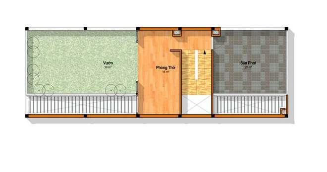 Tầng 4 - Nhà ống 4 tầng hiện đại