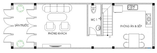 Mặt bằng tầng 1 - Thiết kế nhà ống 3 tầng 4x12m hiện đại
