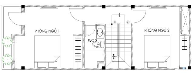 Tầng 2 - Thiết kế nhà ống 3 tầng 4x12m hiện đại