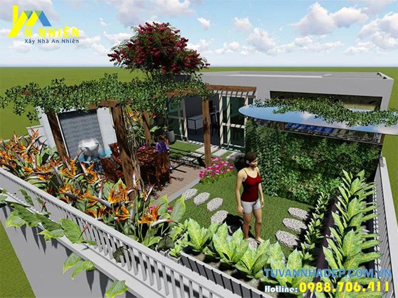 Thiết kế cây xanh vườn sân thượng trên mái nhà ống - 01