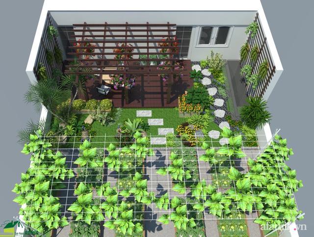 Thiết kế cây xanh vườn sân thượng trên mái nhà ống - 02