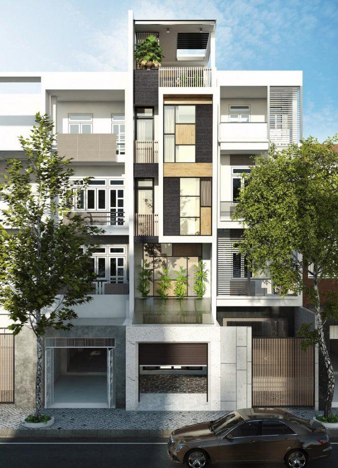 Mặt tiền và ngoại thất của thiết kế kiến trúc nhà 4 tầng đẹp phóng khoáng - 1