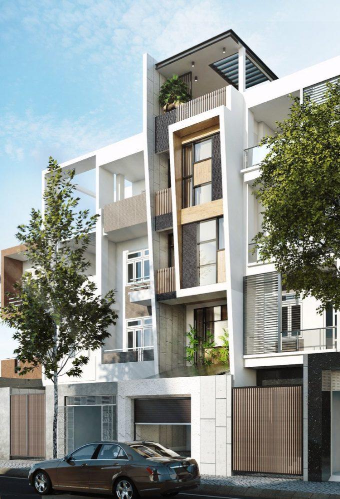 Mặt tiền và ngoại thất của thiết kế kiến trúc nhà 4 tầng đẹp phóng khoáng - 2