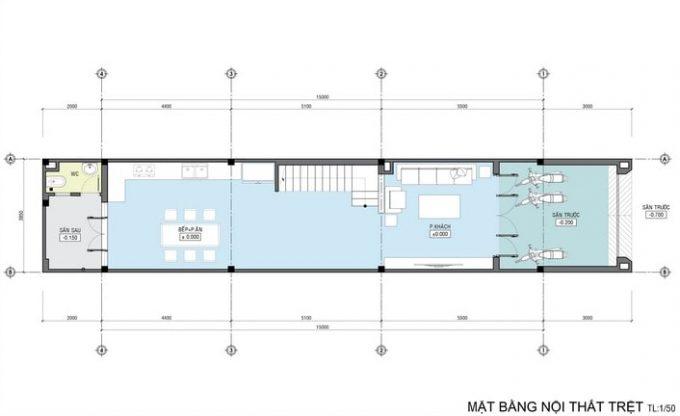 Mặt bằng công năng của thiết kế kiến trúc nhà ống 4 tầng- 1