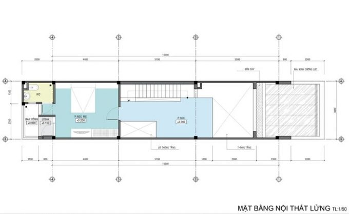 Mặt bằng công năng của thiết kế kiến trúc nhà ống 4 tầng- 2