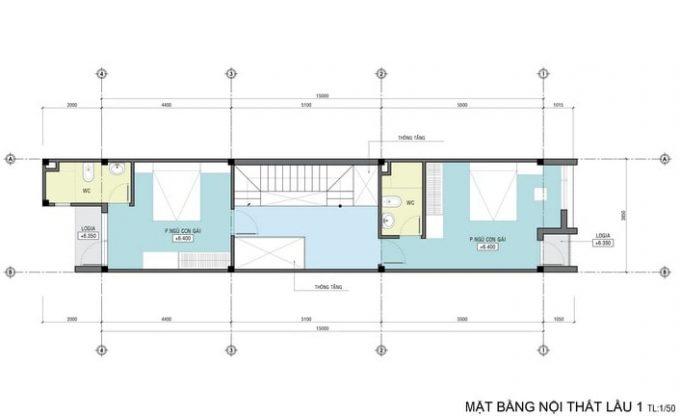 Mặt bằng công năng của thiết kế kiến trúc nhà ống 4 tầng- 3