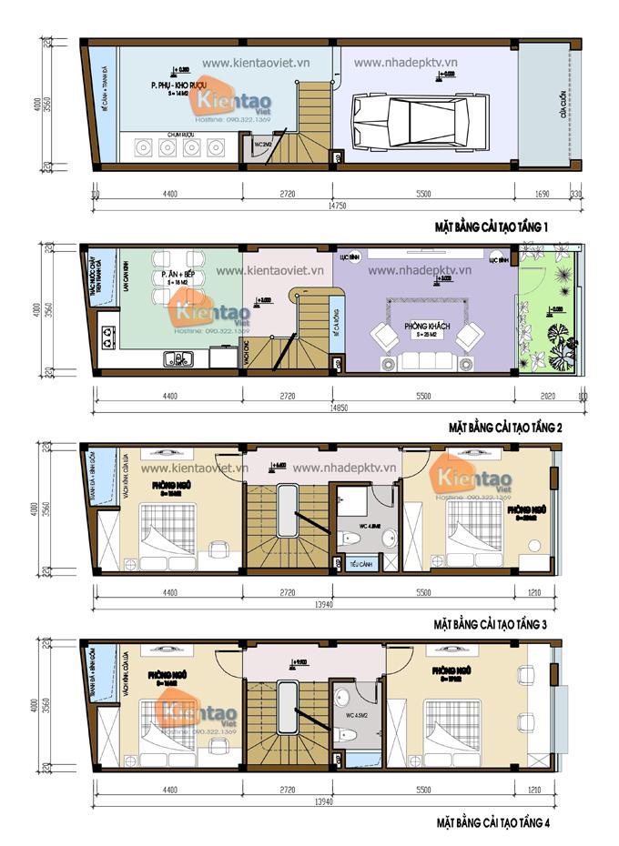 Thiết kế mặt bằng mẫu nhà đẹp 4 tầng 4x14m