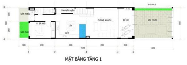 Mặt bằng tầng 1 - thiết kế mẫu nhà ống 3 tầng chi phí 700tr