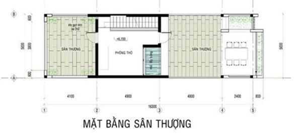 Mặt bằng tầng 2 - thiết kế mẫu nhà ống 3 tầng chi phí 700tr
