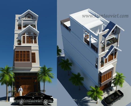 Thiết kế mẫu nhà ống 4 tầng Yên Bái