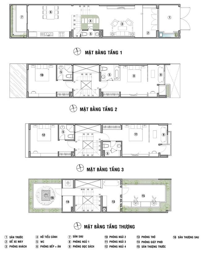 Thiết kế mẫu nhà ống 4 tầng hiện đại 4,5x20m có sân trước rộng thoáng - 2