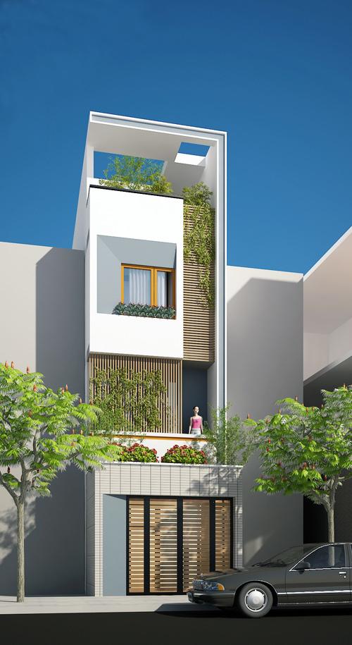 Thiết kế mẫu nhà ống 4 tầng hiện đại 4,5x20m có sân trước rộng thoáng - 1