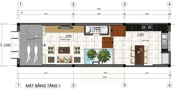 Thiết kế mẫu nhà ống 5 tầng diện tích 4x14m. 1