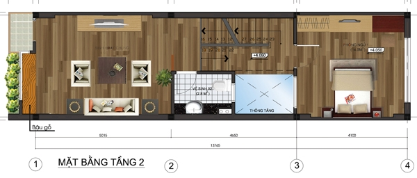 Thiết kế mẫu nhà ống 5 tầng diện tích 4x14m. 2