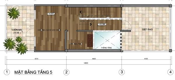 Thiết kế mẫu nhà ống 5 tầng diện tích 4x14m. 5
