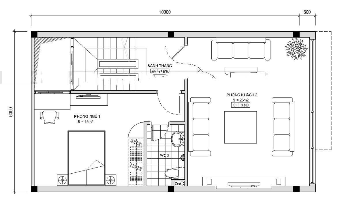 Thiết kế mẫu nhà ống 5 tầng thoáng mát. 2