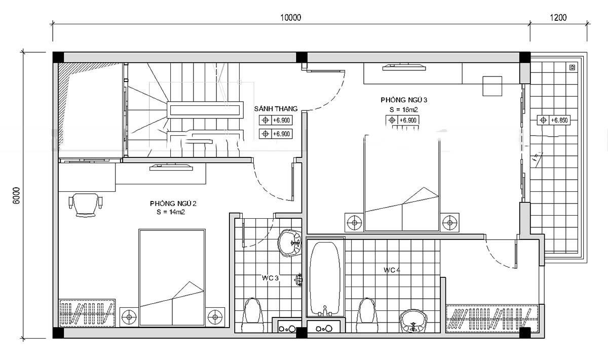 Thiết kế mẫu nhà ống 5 tầng thoáng mát. 3