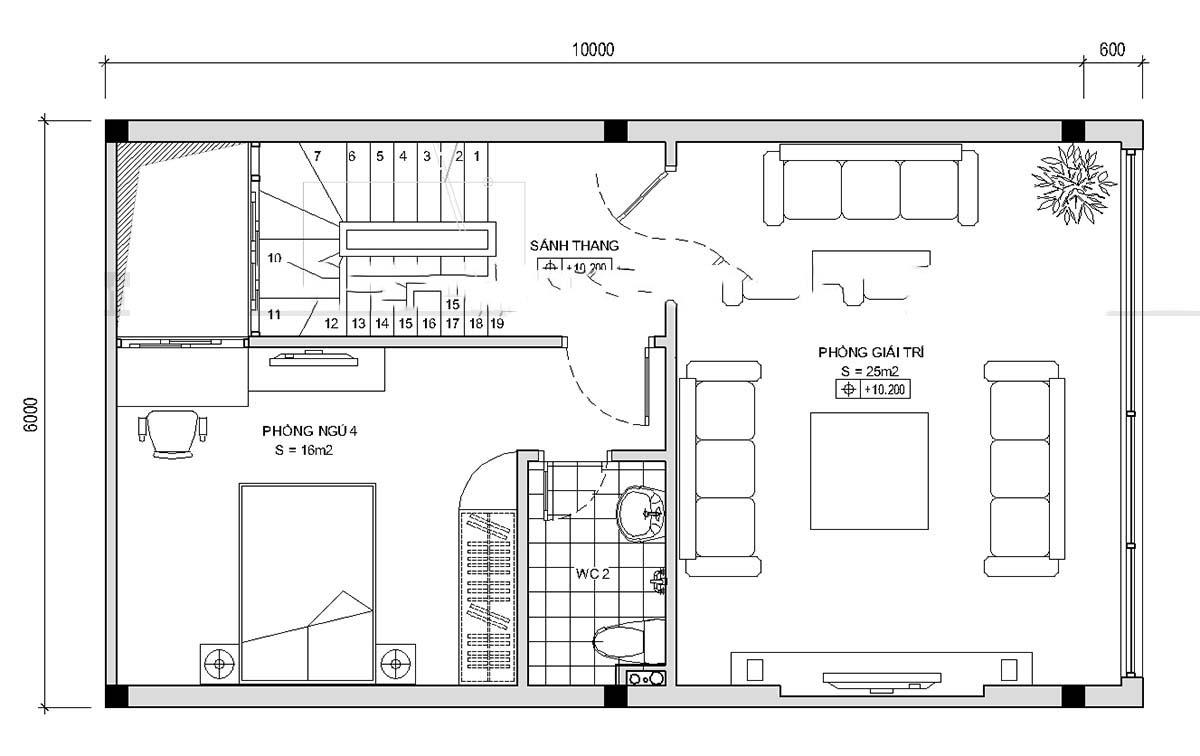 Thiết kế mẫu nhà ống 5 tầng thoáng mát. 4