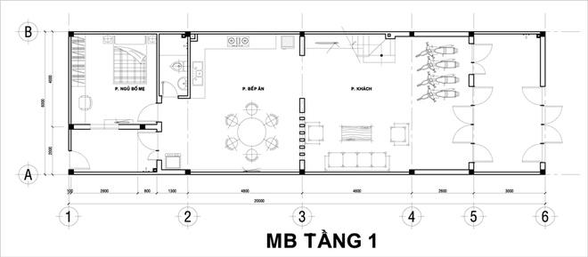 Thiết kế nhà ống 2 tầng 6x12m thoáng mát. 1